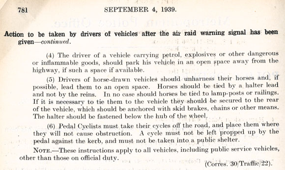 page 2 of Police 0rders for drivers of vehicles during an air-raid