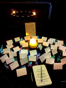 Candles lit in memory of loved ones in a Christian church.