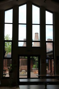 Window on the soul: Looking from Longton Spiritualist Church towards Gladstone Pottery Museum