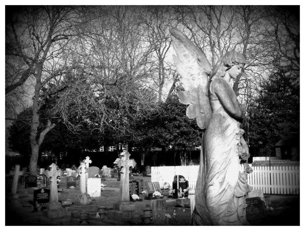 Healing the spirit? An angel statue looks over the graves in Longton Cemetary