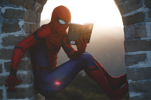 Spiderman sitting in an archway reading