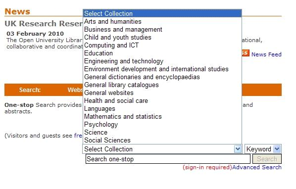 OU Library federated search view