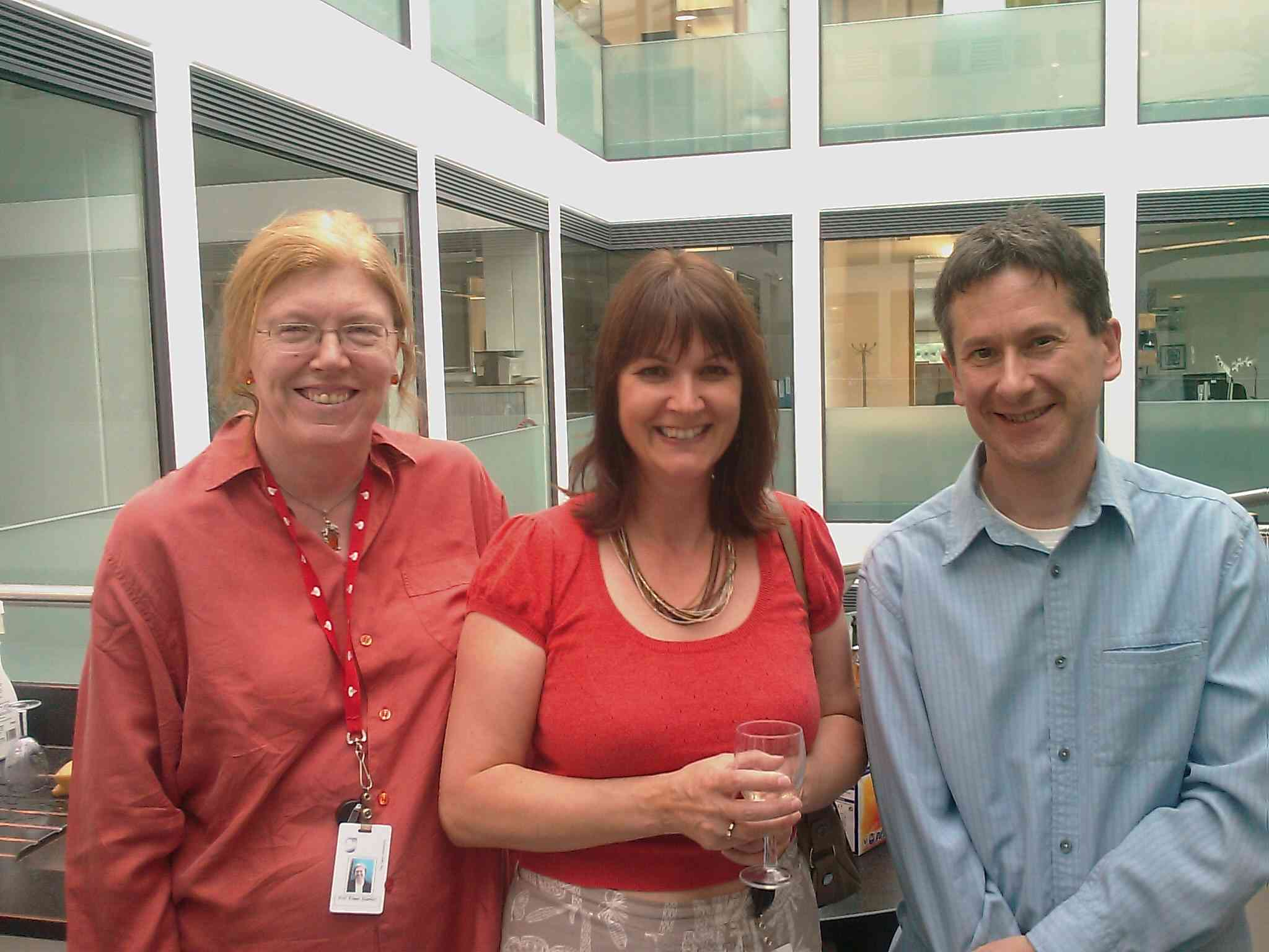 Eileen, Gill and Patrick celebrating the successful viva