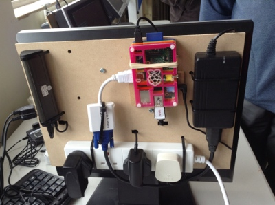 Raspberry PI mounted on a screen