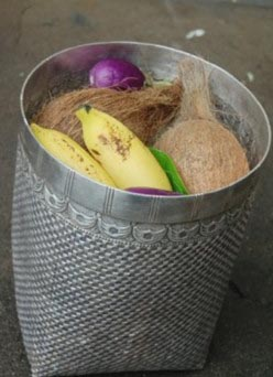 Nagarathar basket filled with rice, coconuts, vegetables and fruits used during the gift-giving ritual called vevu in a Nagarathar marriage in Chettinad, Tamilnadu. (photo 1) by Dr.Kala Shreen