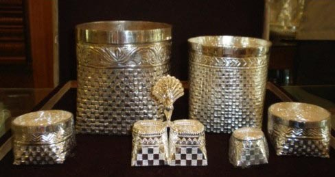 Nagarathar baskets reproduced in silver