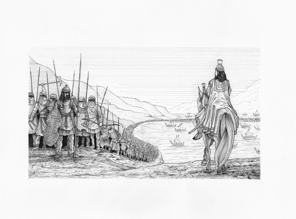 Xerxes crosses the Hellespont. Original illustration from Imagining Xerxes (2014). Image copyright Asa Taulbut. Reproduced by permission of the artist.