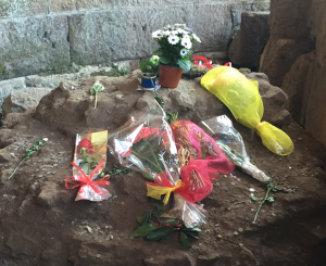 Offerings left at the remains of the Temple of Julius Caesar in the Forum Romanum to mark the Ides of March.