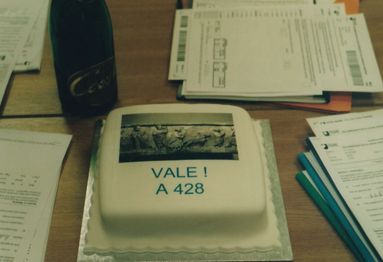 Special cake made to commemorate the final exam meeting for the module A428 ('The Roman Family'), which ran from 1997 - 2004