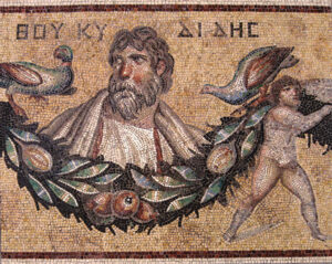 Thucydides Mosaic from Jerash, Jordan, Roman, 3rd century CE at the Pergamon Museum in Berlin.