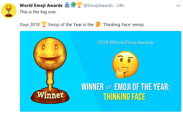 A screenshot from Twitter announcing 'Thinking Face' as Emoji of the Year