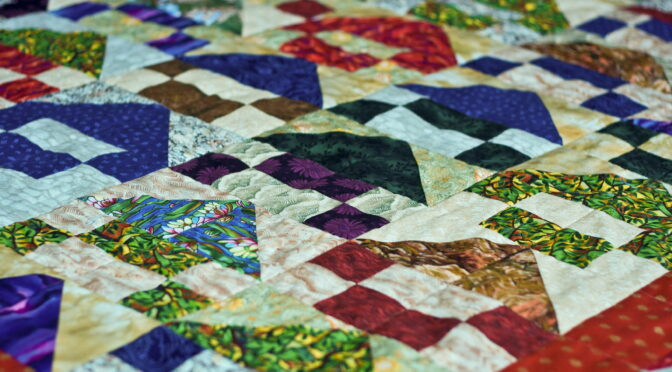 Close-up image of a patchwork quilt