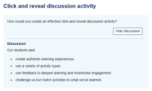 A click-and-reveal activity in the style of the Open University's VLE