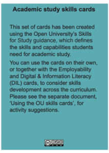 Using the academic skills cards