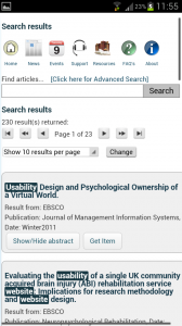 Screenshot showing mobile search results interface