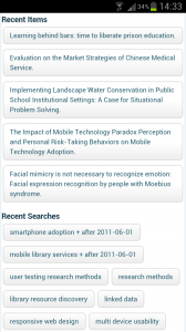 Screenshot showing titles recently viewed items and saved searches