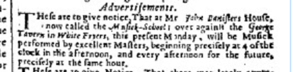Banister concert advert, London  Gazette 26 Dec 1672