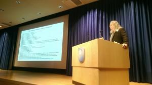 Professor Derek Scott addresses the conference