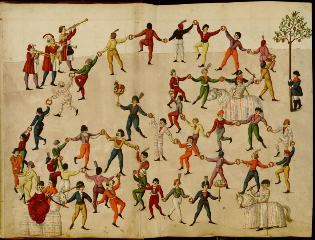 Dance of the Nuremberg Butchers c. 1500: Schembartbuch UB of California Coll. 170 Ms 351