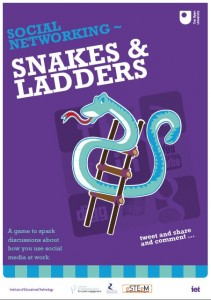 The snakes and ladders of social media. Poster design: Peter Devine