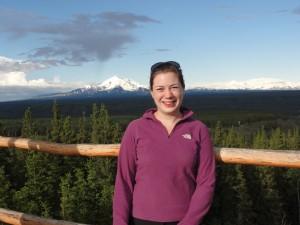 Anne 'on location in the field', in Alaska