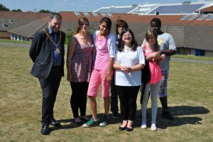 The team from Slated Row School, with the Mayor of Milton Keynes Brian White