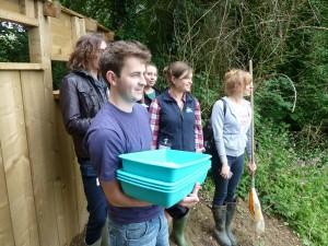 The film crew at Walton Lake, with Liz Earley (FSC)