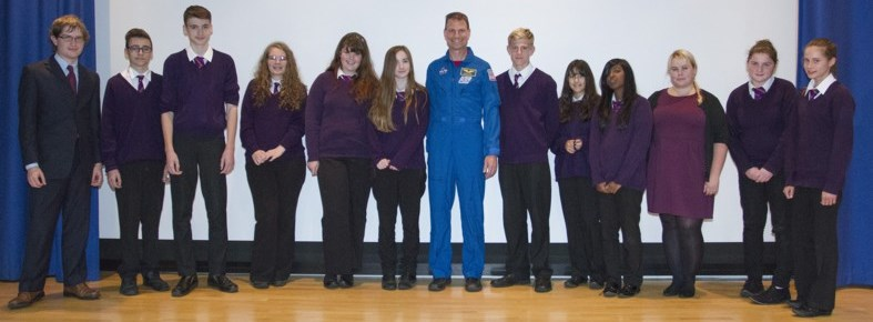 Students of St. Paul's Catholic School in Milton Keynes had a chance to speak to NASA astronaut Stanley G. Love after his lecture. Image credit: Luke Beaman, OU.