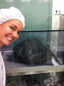 Jessica Barnes, with a meteorite.