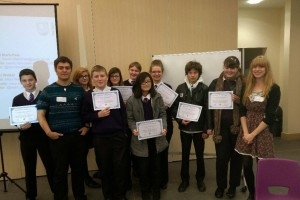 The winning teams from St Paul's Catholic School in Milton Keynes, with Mairi and David