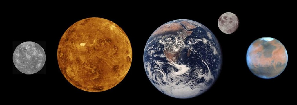 The rocky (terrestrial) planets plus the Moon, all to scale. From left to right: Mercury, Venus, Earth, Moon, Mars.