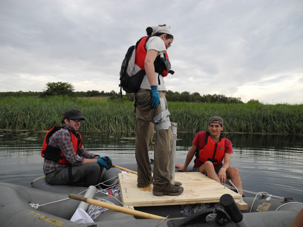 Figure 2. Sampling (coring) of a lacustrine sedimentary archive from a boat platform.