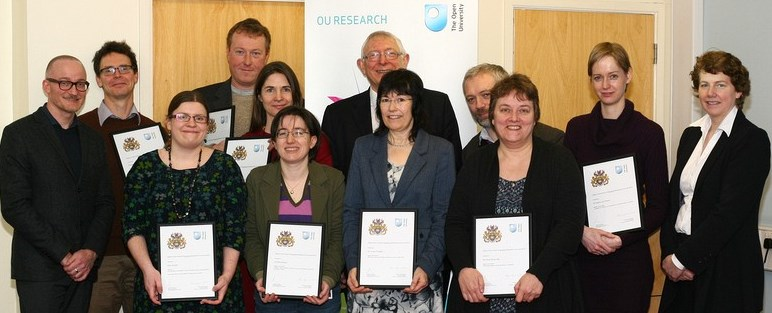 2015 Engaging Research Award Winners: L-R: Richard Holliman, Paul Stenner, Katy Jordan, Graham Pike, Rosa Hoekstra, Francesca Benatti (on behalf of Elton Barker), Alan Bassindale, Verina Waights, Martin Weller, Cindy Kerawalla, Saskia van Manen and Fiona McKerlie