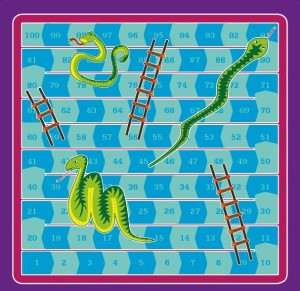 The snakes and ladders board. Design Peter Devine