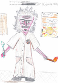 An image of a scientist drawn by a child.