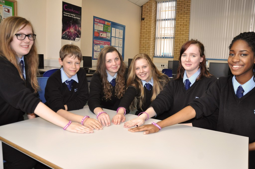 The Design Team, featuring Denbigh School Students, l-r: Lucy Turner, Daniel Roberts, Tiegan Stratford, Emily Banks, Cerys Griffiths, Olusola Ojo. Photo: Mark Russell]