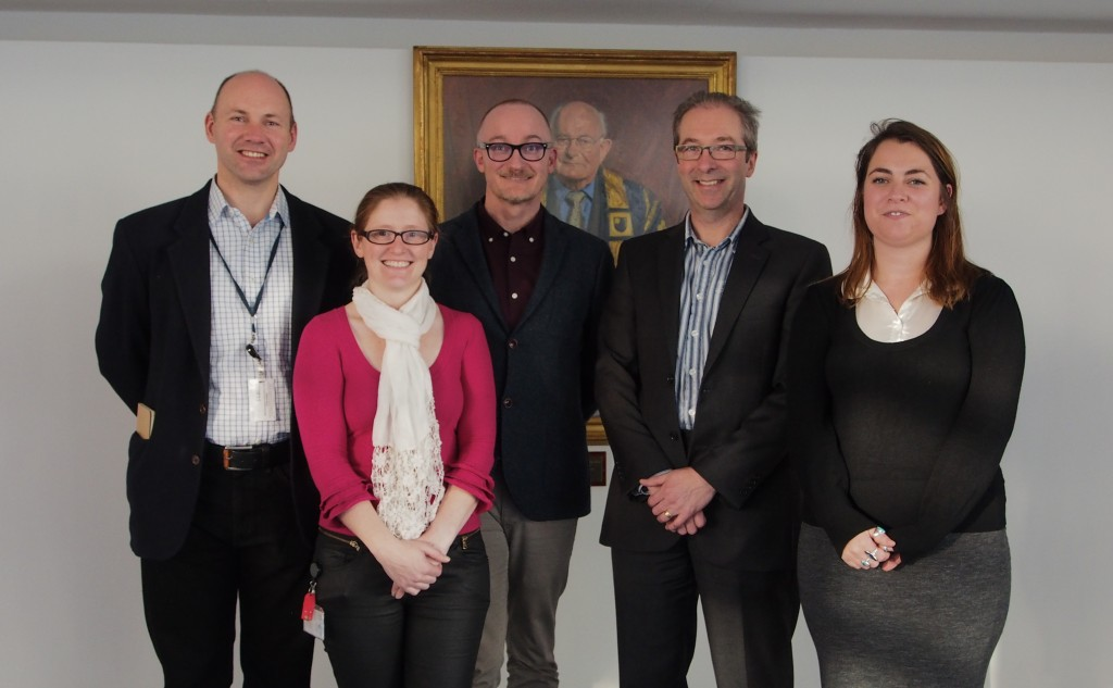 The 2015 lecturing team: l-r Dr Mark Brandon, Dr Ellie Dommett, Professor Richard Holliman, Professor Simon Kelley and Kerry Reid. Photo: Kate Bradshaw.