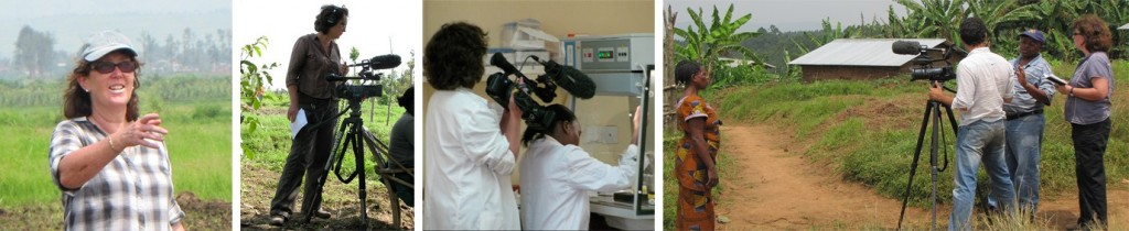 Clare Kemp (far left), with a film crew, working with a scientist, extension workers and farmers.
