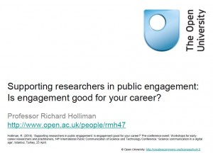 Supporting researchers in public engagement: Is public engagement good for your career?
