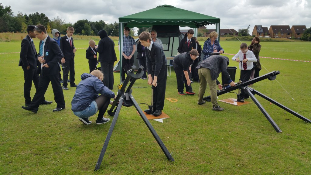 Vic Pearson (The Open University) and Leanne Gunn (Science Made Simple) assist the students with the launchers.