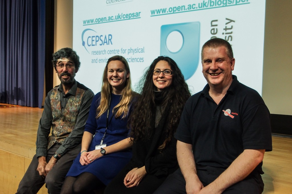 The 2014 lecturing team: l-r Prof Dave Rothery, Dr Jessica Barnes, Dr Encarni Montoya and Dr Geraint (Taff) Morgan. Photo: Kate Bradshaw.