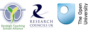 Three logos: Denbigh Teaching School Alliance; Research Councils UK and The Open University