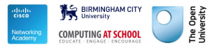 Cisco, Birmingham City University, Computing at Schools and The Open University.