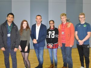 Martin Lewis with students from Denbigh School in Milton Keynes.