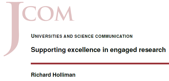 Supporting excellence in engaged research (Holliman, 2017).
