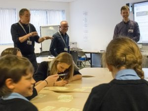 Peter Devine facilitating the design activity with Denbigh students, Trevor Collins and Richard Holliman. Photo: Mark Russell.