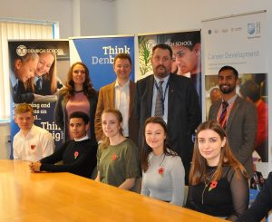 The launch event for Managing My Money – Youth. Denbigh School Students with Bobby Seagull and Andy Squires.