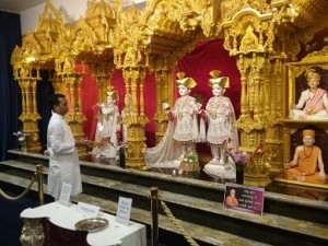 Celebrating arti at the recently opened Swaminarayan BAPS Mandir in Preston