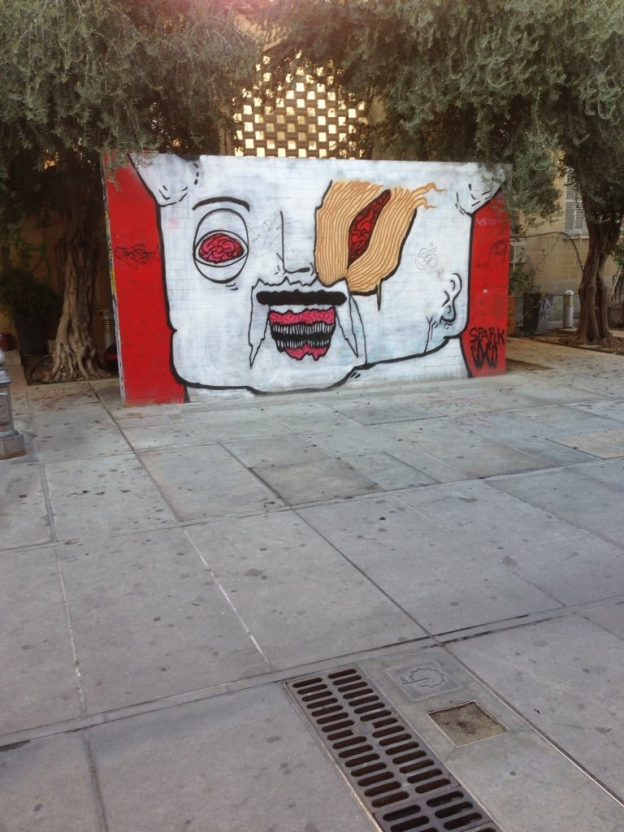Image 1: Graffiti in grounds of Cypriot church. Photograph taken by Theodoros Kyriakides