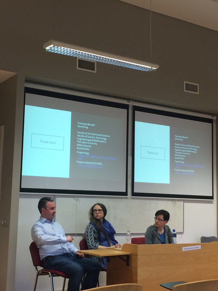 Photograph of Francesca Benatti with fellow panelists Derek Greene (UCD) and Karen Wade (UCD) at the Digital Cultures, Big Data and Society conference